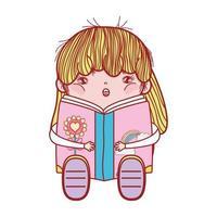 Chica guapa con libro sentado leyendo diseño aislado