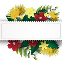 Paper art with floral frame vector