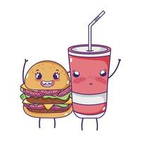 fast food cute tasty burger plastic cup and cartoon vector