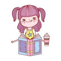 little girl reading book literature with frape in hand cartoon