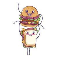hamburguesa linda de comida rápida con dibujos animados de sándwich