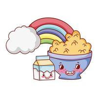 breakfast cute bowl with cereal yogurt and milk box cartoon vector