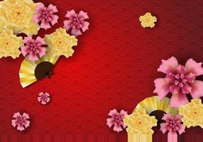 Paper art of Chinese traditional and asian elements template Background vector