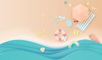 Fondo de banner de vista superior de playa de estilo de arte y artesanía de papel