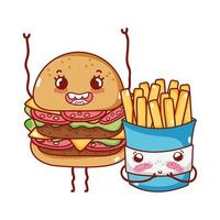 fast food cute burger and french fries cartoon vector