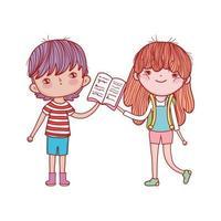 niña con mochila y niño leyendo libro de dibujos animados vector