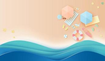 Paper art and craft style beach top view banner background vector