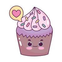 cute food cupcake love heart sweet dessert pastry cartoon isolated design vector