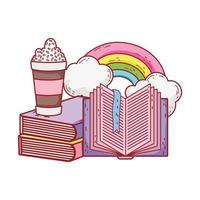 frappe open book stacked books rainbow clouds cartoon vector