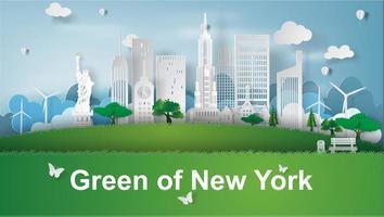 Paper art banner with New York City skyline vector