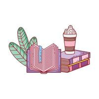 smoothie in stacked books and open book foliage vector