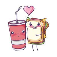 fast food cute sandwich and french fries cartoon