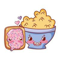 breakfast cute cereal in bowl and bread with cartoon vector