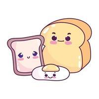 comida linda desayuno pan y huevo frito pan blanco postre dulce pastelería dibujos animados diseño aislado