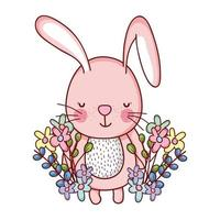cute animals, little rabbit flowers leaves foliage cartoon vector