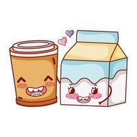 desayuno linda caja de leche y taza de café de plástico dibujos animados vector