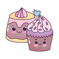 Cute food cupcake and jelly postre dulce pastelería dibujos animados diseño aislado