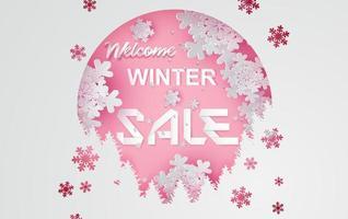 Venta de invierno de arte en papel con banner de nieve para publicidad. vector