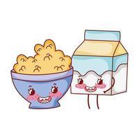 desayuno lindo tazón con cereal y caja de leche cartoon vector