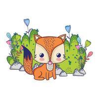 cute animals, little fox foliage bush nature isolated design vector