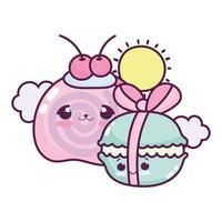 lindo macarrón de comida con cinta y fruta dulce postre pastelería dibujos animados diseño aislado