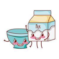 desayuno, lindo, leche, caja, y, tazón, kawaii, caricatura, aislado, icono vector