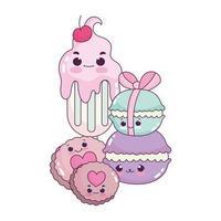 comida linda helados macarrones y galletas postre dulce pastelería dibujos animados diseño aislado