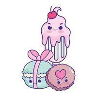 lindo alimento helado macarrones y galleta postre dulce pastelería dibujos animados diseño aislado