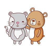cute animals, bear and cat cartoon isolated icon vector