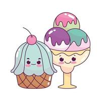 cute food ice cream scoops and cupcake sweet dessert pastry cartoon isolated design vector