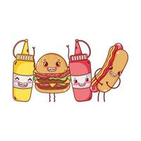 fast food cute burger hot dog mustard sauces cartoon character vector
