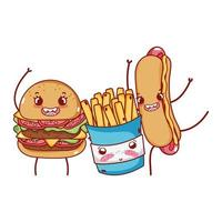 fast food cute burger french fries and hot dog cartoon vector