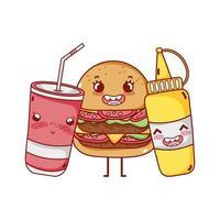 fast food cute burger mustard and takeaway cup soda cartoon vector