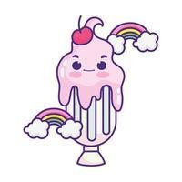 cute food milkshake cherry rainbows sweet dessert pastry cartoon isolated design vector