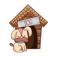 cute animals, puppy dog house cartoon vector