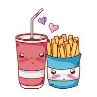 comida rápida lindas papas fritas y vaso de plástico soda paja amor dibujos animados