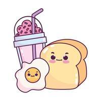 comida linda desayuno pan y huevo frito y batido postre dulce pastelería dibujos animados diseño aislado