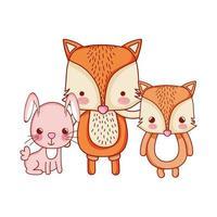 cute animals, foxes and rabbit cartoon vector