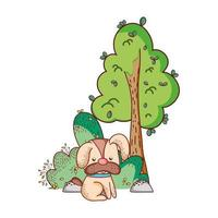 cute animals, little dog with house tree nature cartoon vector