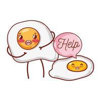 Desayuno lindo huevos fritos con texto de ayuda kawaii cartoon