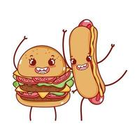 fast food cute tasty burger and hot dog cartoon vector