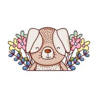 cute animals, little dog flowers leaves foliage cartoon vector