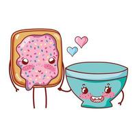 breakfast cute bread with and bowl cartoon vector