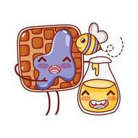 fast food waffle and honey bottle bee cartoon character vector