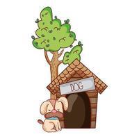 cute animals, puppy dog sitting house tree cartoon vector