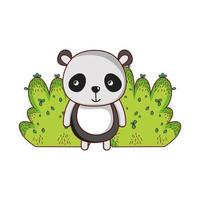 cute animals, panda foliage bush nature design vector
