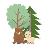 camping cute bear and goat trees forest cartoon vector