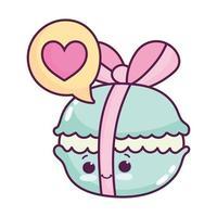 cute food biscuit ribbon sweet dessert kawaii cartoon isolated design vector
