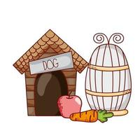 cute animals, wooden house apple carrot cartoon vector