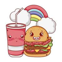 fast food cute tasty burger plastic cup and rainbow clouds cartoon vector